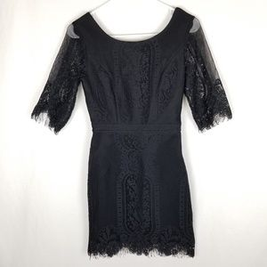 Tea & Cup Black Lace Low Open Back Fitted Dress
